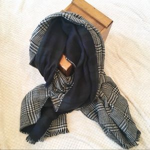 Aldo Plaid & Houndstooth Reversible Blanket Scarf